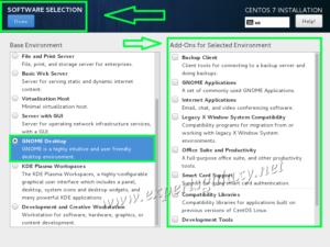 CentOS GNOME Desktop Selection