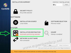 CentOS Linux Installation Summary