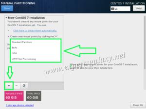 CentOS Manual Partitioning Screen