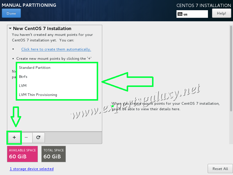 CentOS Manual Partitioning Screen